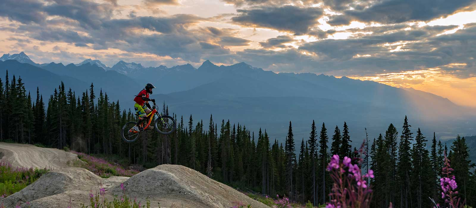 Mountain bikers doing jumps in Valemount Mountain Bike Park