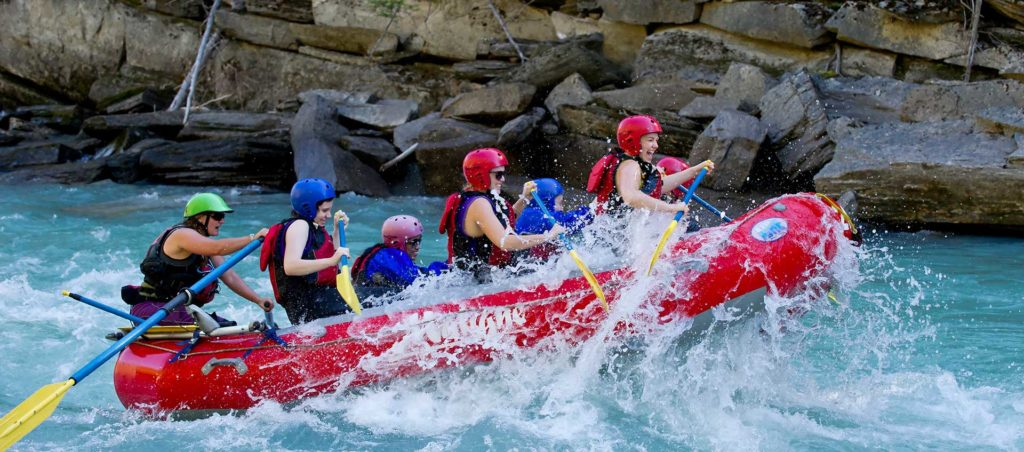 White water rafting group on the river