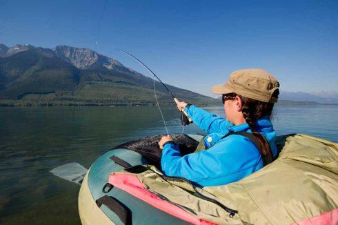 Floating on Kinbasket Lake, fishing