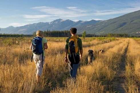 Hiking through tall golden grasses on flat valley floor with mountains in distance