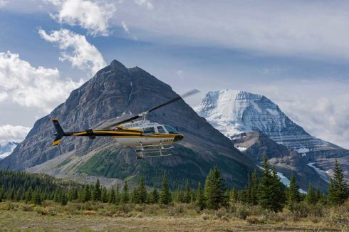 Helicopter taking off for a heli-hiking tour.