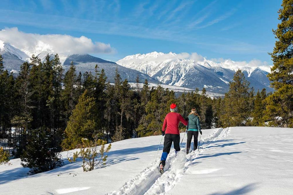 Two people cross-country skiing in the woods with majestic mountain views