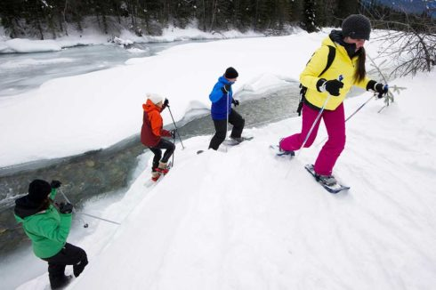 Four people snowshoeing next to a river, wearing jewel-tone bright coloured jackets