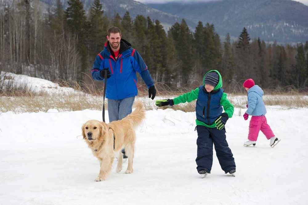 Father and two children with family dog, skating on frozen lake