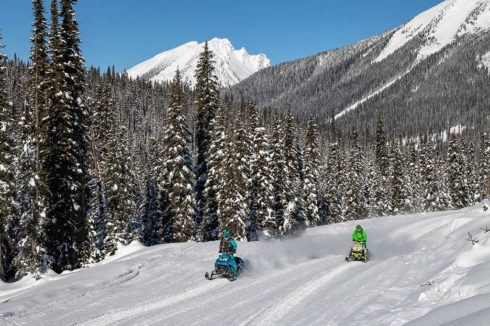 Two snowmobiles on groomed tracks through snowy forest with mountain views