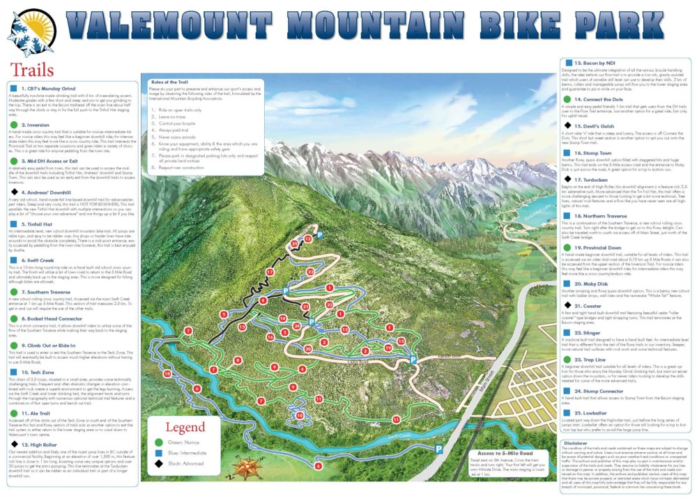 Valemount Mountain Bike Park Map 2019